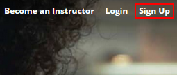 The Udemy sign up button