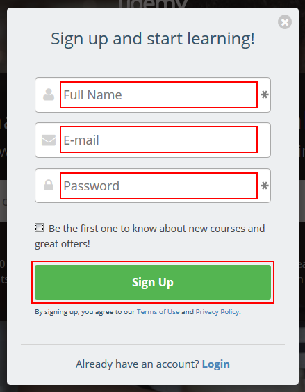 The Udemy sign up form
