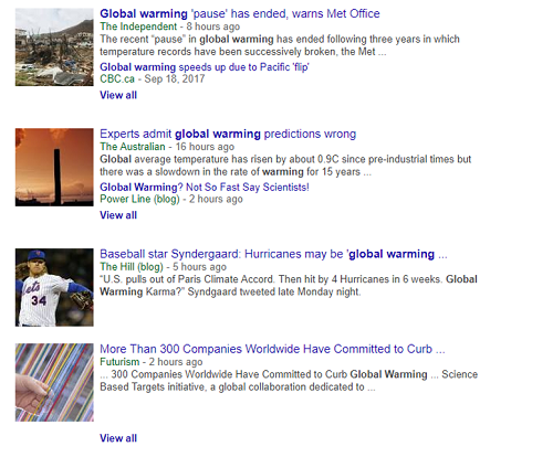 Unbiased news search about global warming in Google