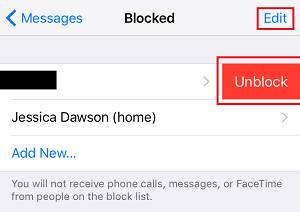 Unblock Contact button
