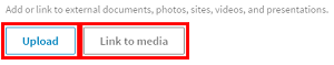 Button to upload or link to media