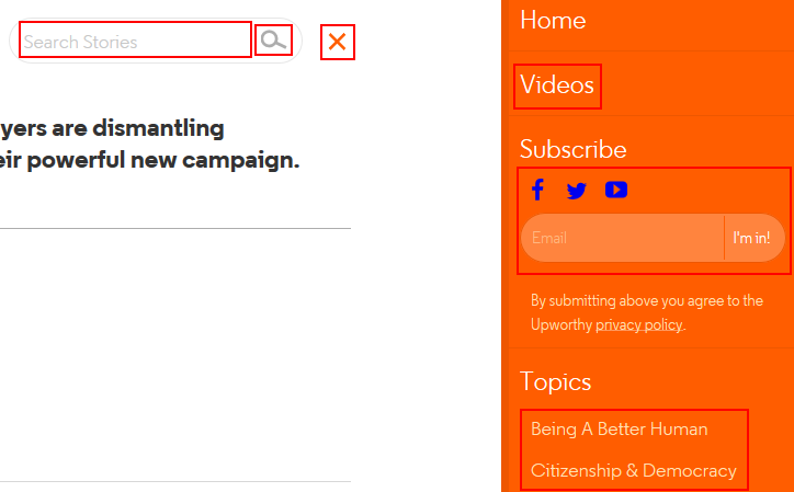 How to use the Upworthy main menu and search bar
