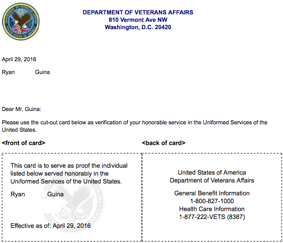 Veteran Proof of Service letter
