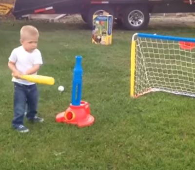 Video of child playing baseball