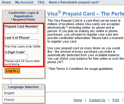 Log into the site with your prepaid card information