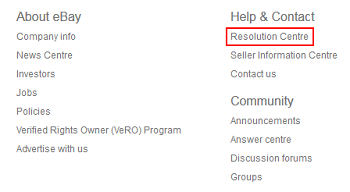 eBay Resolution Center button