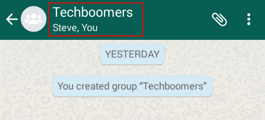 Accessing information about a WhatsApp group