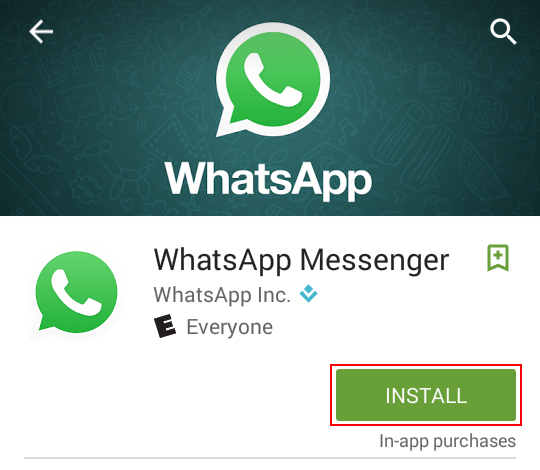 Press this button to install WhatsApp
