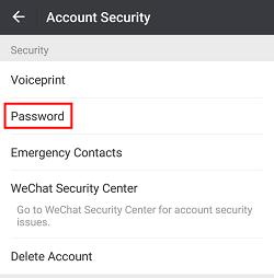 WeChat Password menu