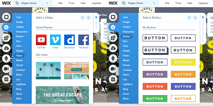 Wix drag and drop menus