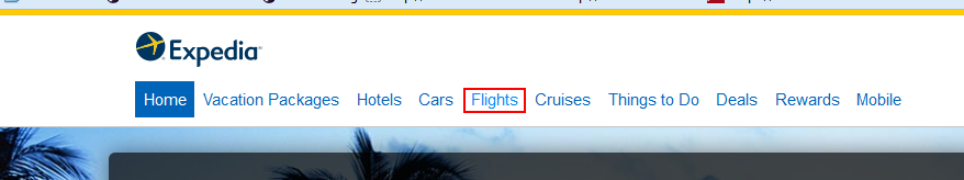 Expedia Flights menu