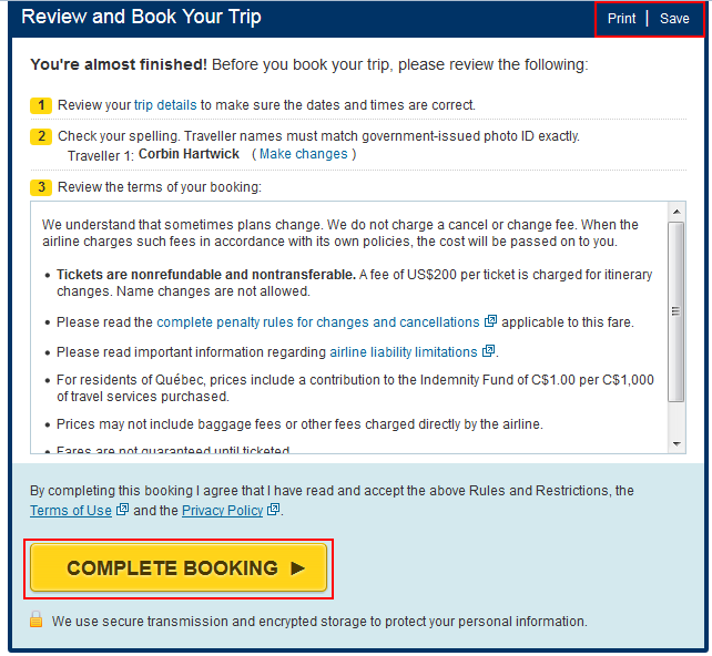 Expedia complete booking button