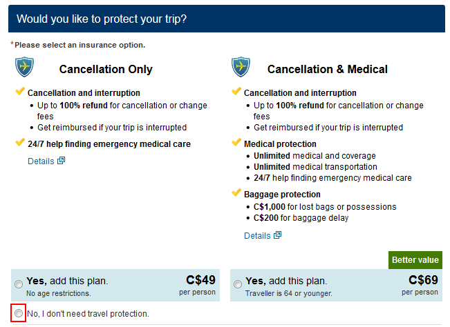 Option to add travel insurance