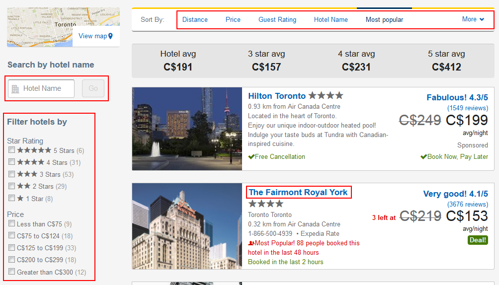 Expedia Hotel search