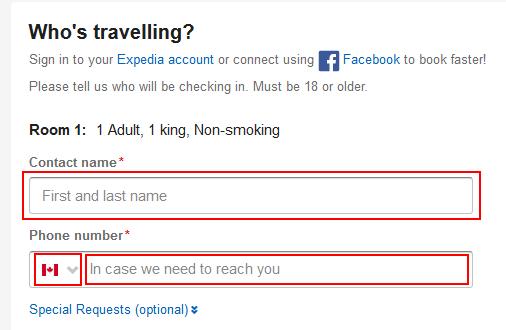 Enter contact details form