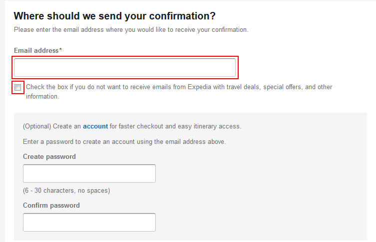 Enter email address to receive a confirmation from Expedia