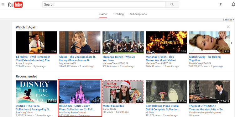 YouTube homepage