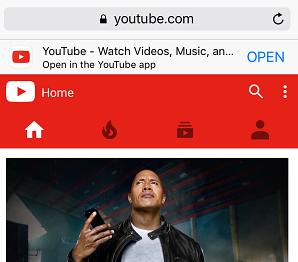Visit YouTube website in Safari