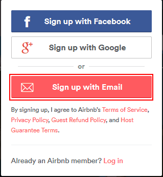 Signing up for Airbnb with various credentials