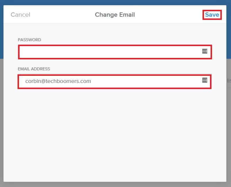 Type in a new email address for your account and save your changes