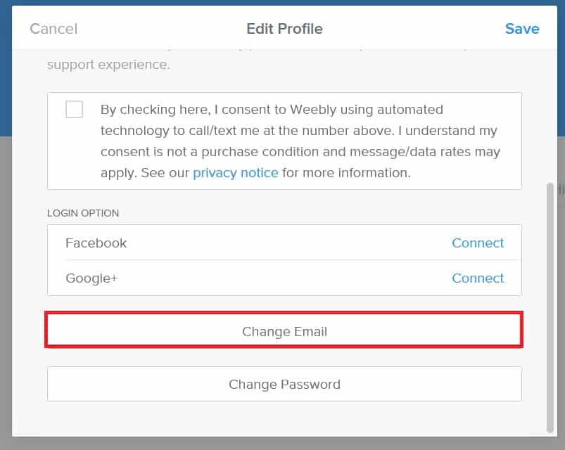 Change the email address on your Weebly account