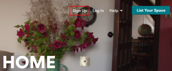 """Clicking the """"Sign Up"""" button on Airbnb"""