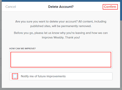 Leave feedback and confirm Weebly account deletion