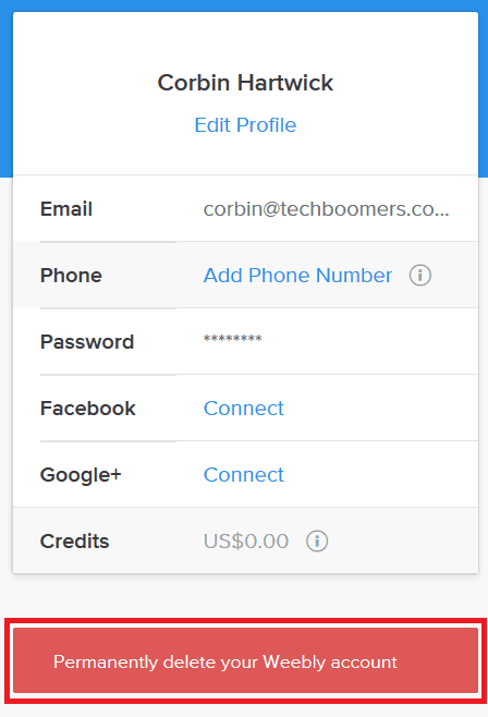 Button for deleting your Weebly account