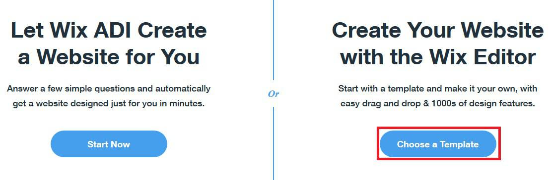 Basing your Wix website on a template