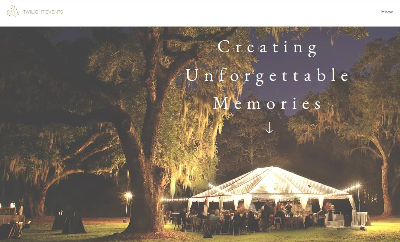 Sample of an events website template