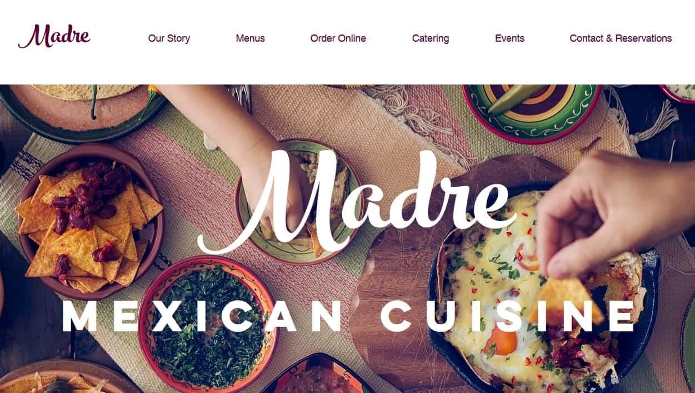 Sample of a restaurant/food website template