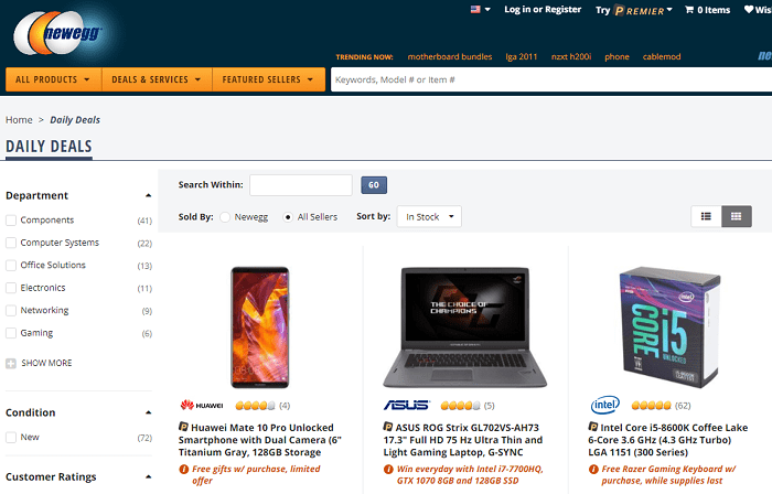 Newegg website