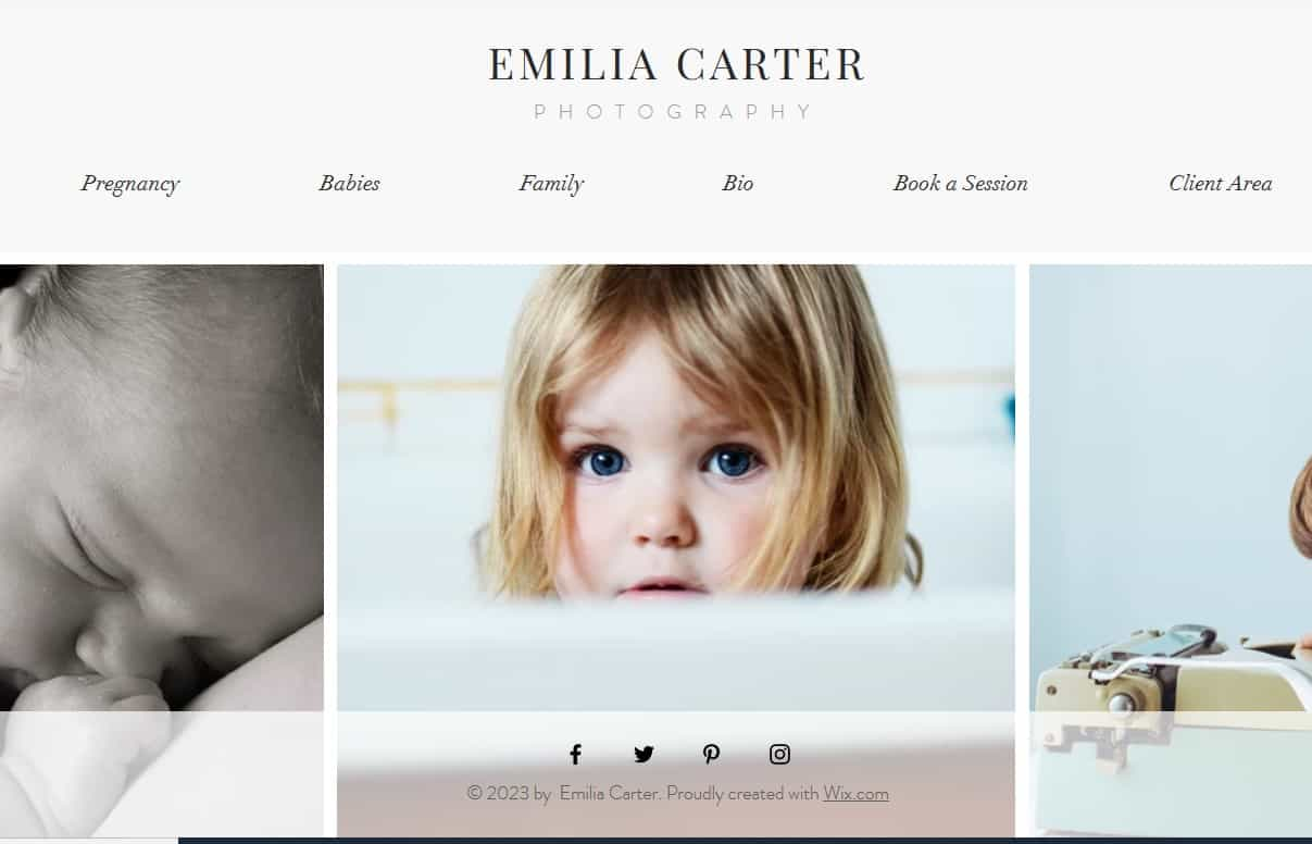Sample of a photography website template