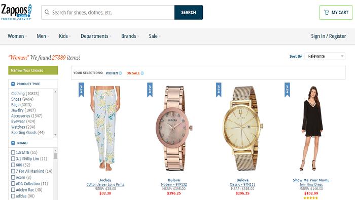 Zappos website
