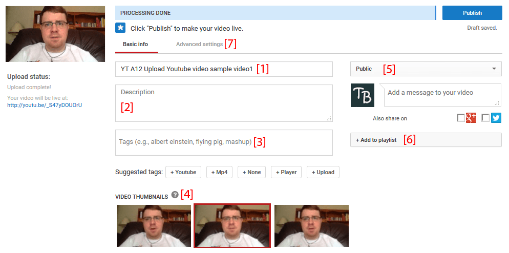 YouTube video upload options