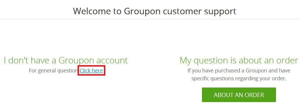 Ask a question about Groupon without being logged into an account