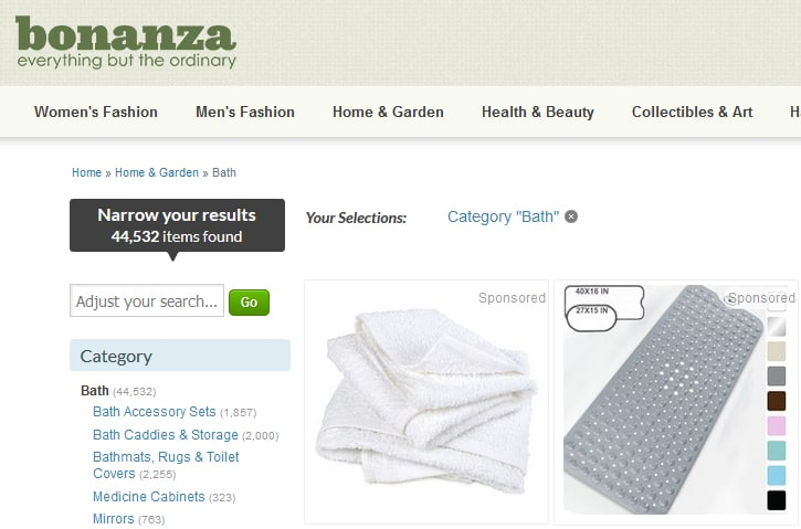A screenshot of Bonanza.com