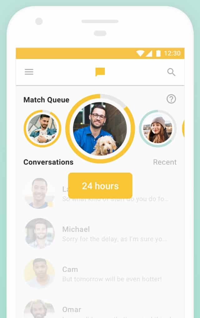 An example of the Bumble app