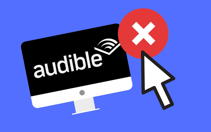 "Audible logo on monitor with cancel ""X"""