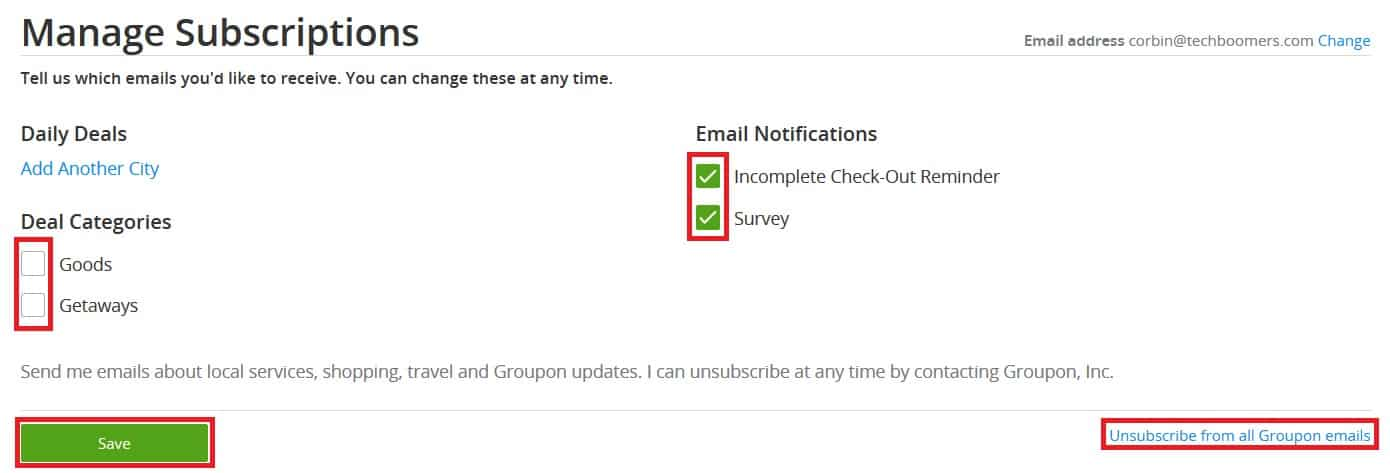 Choose what types of emails from Groupon you wish to receive (or not)