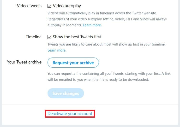 Button for deactivating a Twitter account
