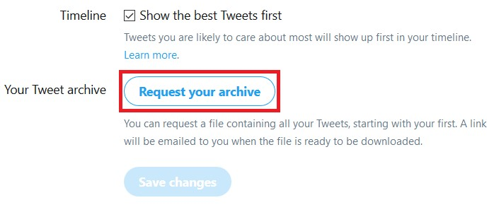 Button to download a log of your tweets