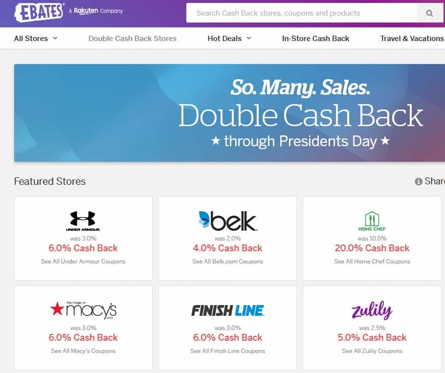 An example of the sales page on Ebates