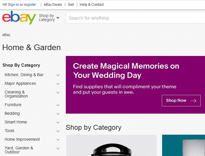 A screenshot of eBay.com