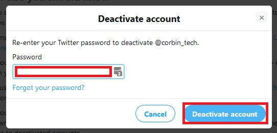 Confirm your account closure by entering your password