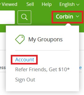 Accessing your account settings on Groupon