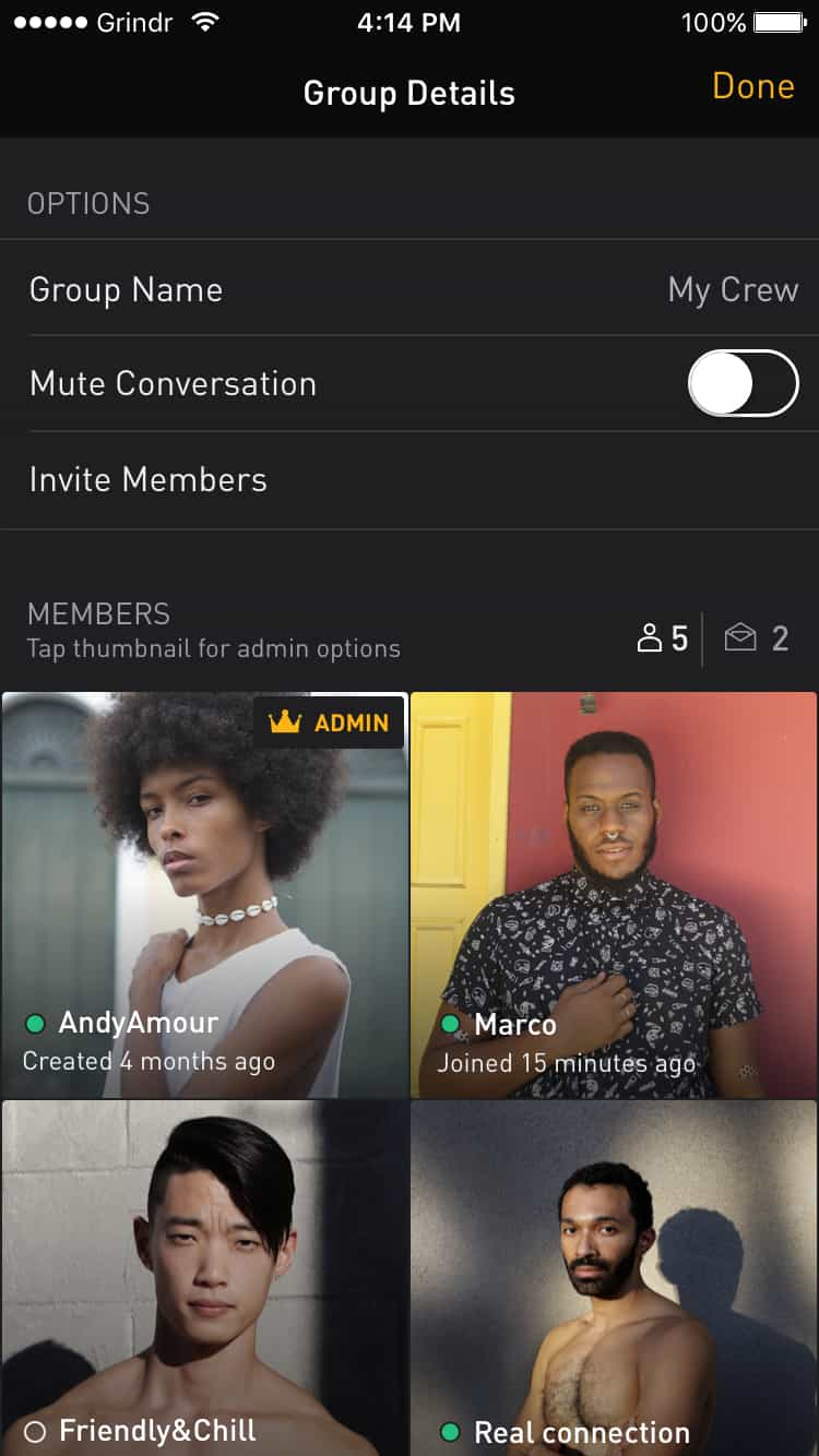An example of the Grindr app