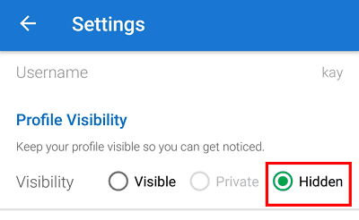 Hide profile visibility Android