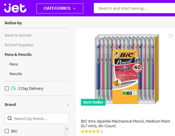 A screenshot of Jet.com