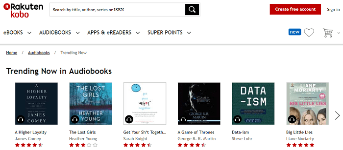Kobo audiobooks website